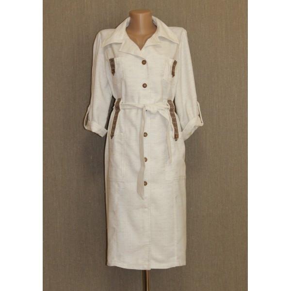 Классическое платье-халат с элементами вышивки