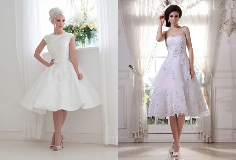Короткие свадебные платья чуть ниже колена