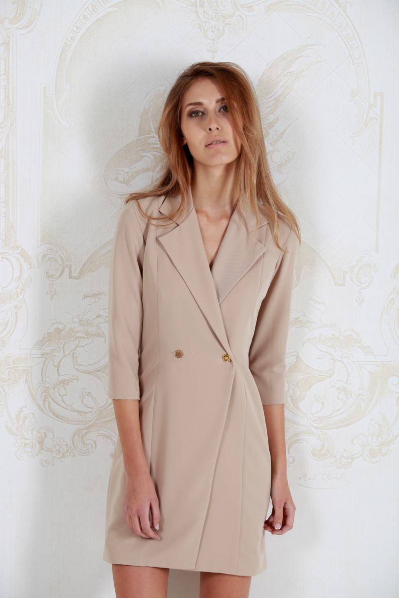 Короткое кремовое платье