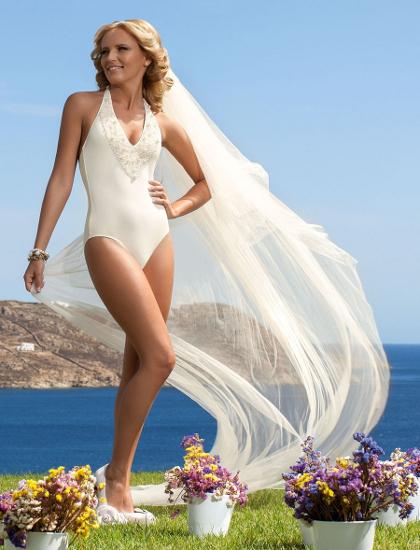 Короткое свадебное платье купальник