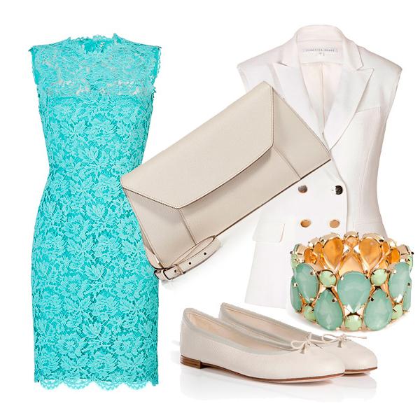 Красивое кружевное бирюзовое платье