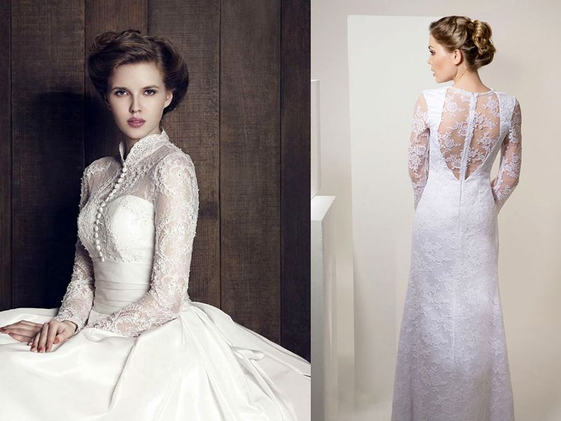 Красивые закрытые свадебные платья на любой вкус