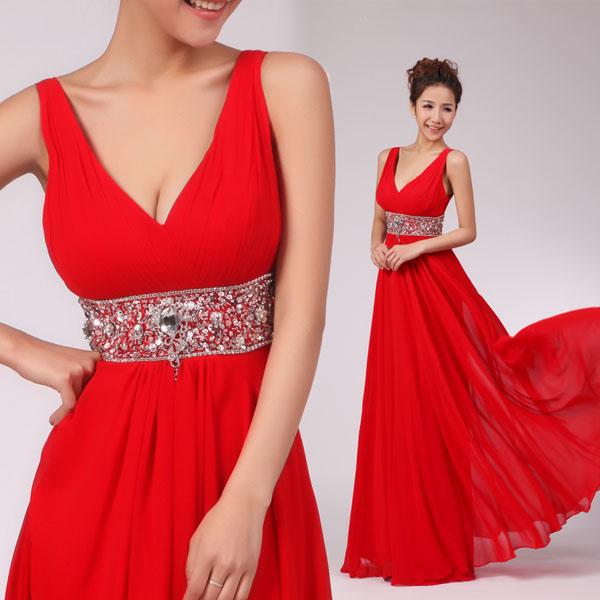 Красное элегантное платье