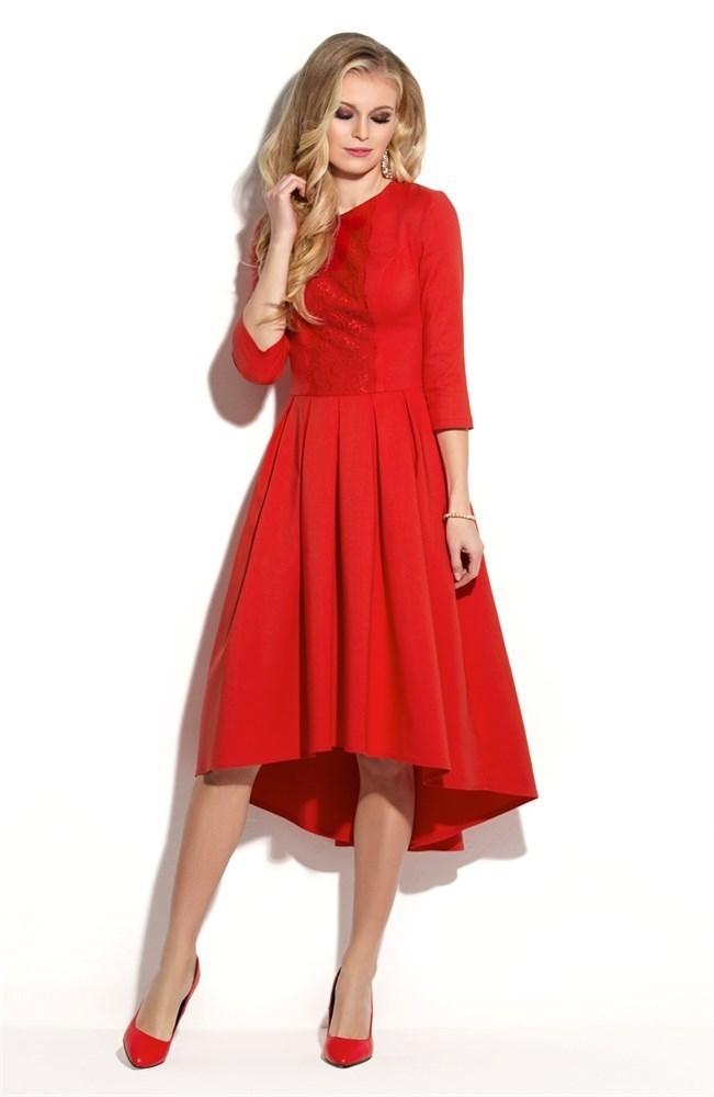 Красное коктейльное платье с кружевом и ассиметричной юбкой