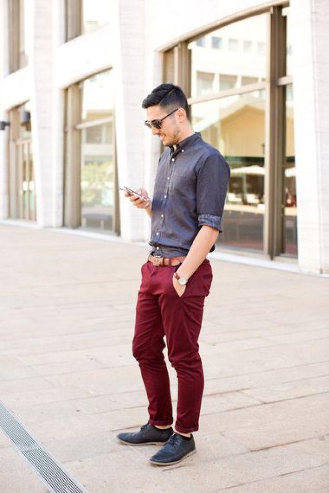 Красные брюки с классической рубашкой