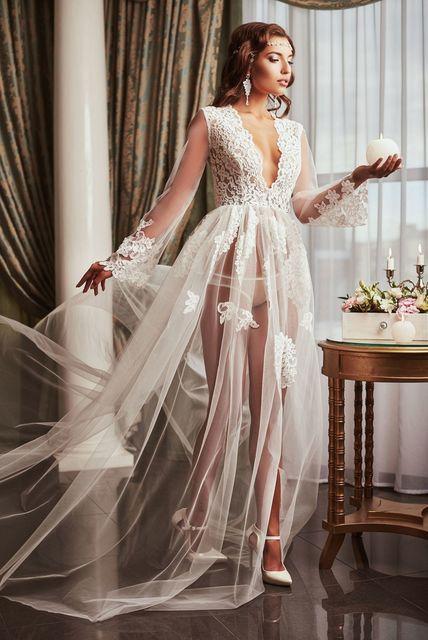 Кружевное будуарное платье с рукавчиком
