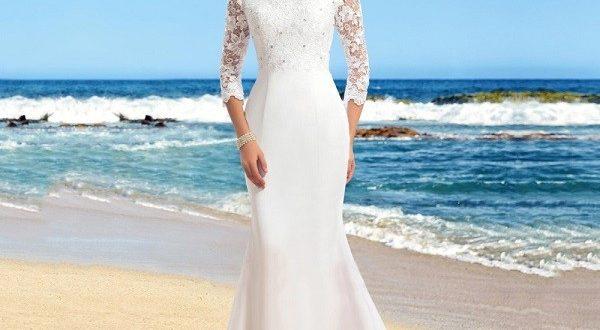 Кружевное прямое свадебное платье