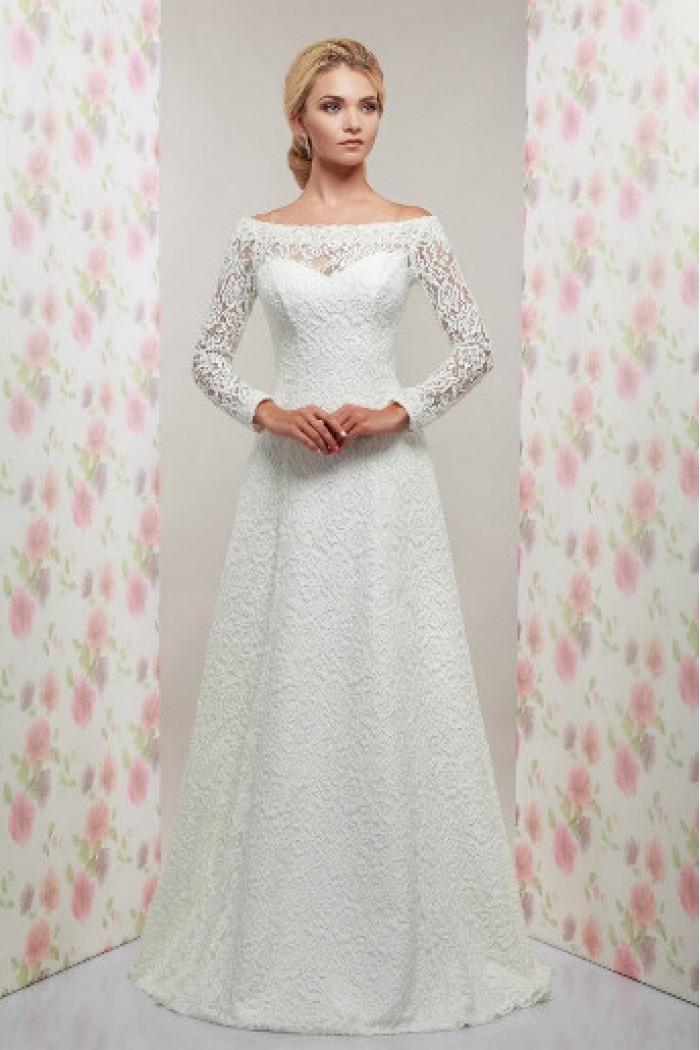 Кружевное свадебное платье А-силуэта с длинными рукавами