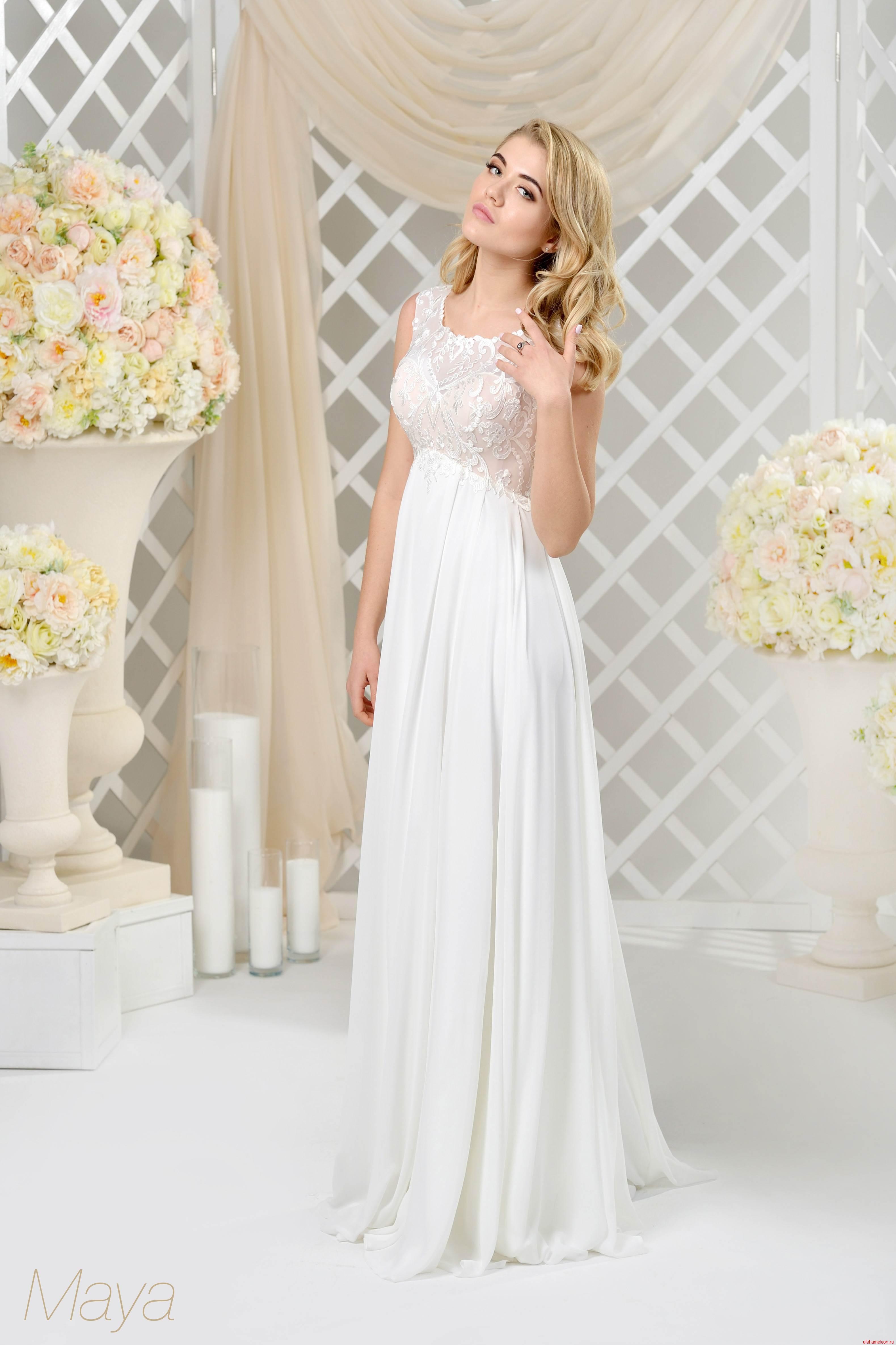 Кружевное свадебное платье Ампир