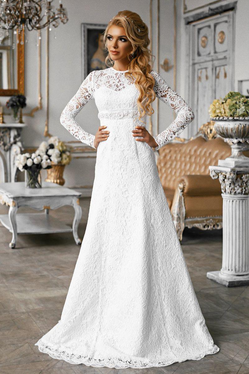 Кружевное свадебное платье а силуэт