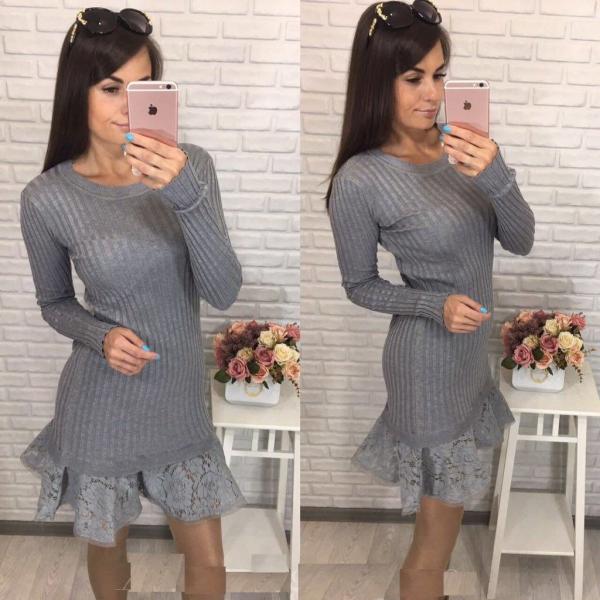 Кружево по низу платья