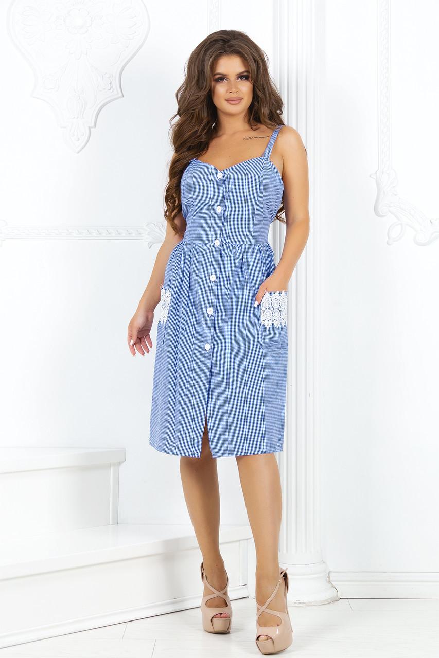 Летнее платье-халат на пуговицах с кружевом на карманах