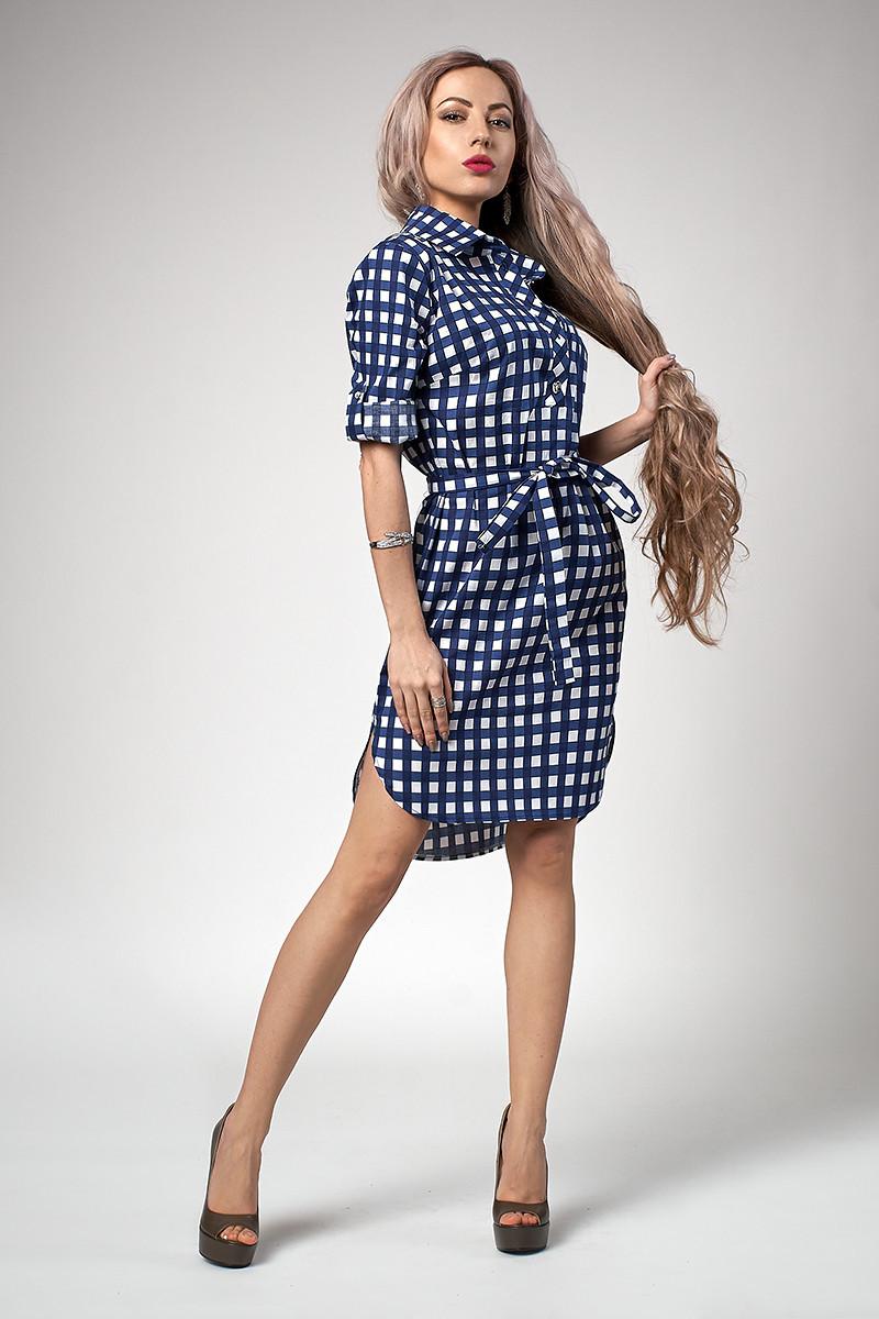 Летнее женское платье-рубашка с поясом в мелкую синюю клетку