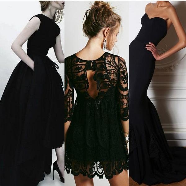 Модные вечерние платья черного цвета