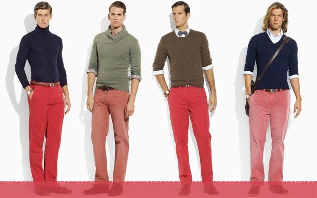 Мужчины в красных джинсах