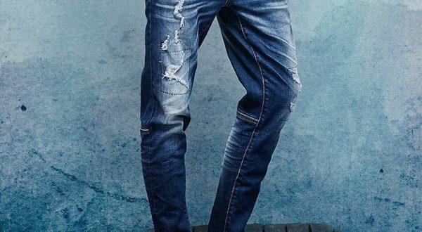 Мужские джинсы с потёртостями для парня