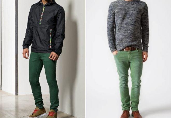 Мужские джинсы зеленые