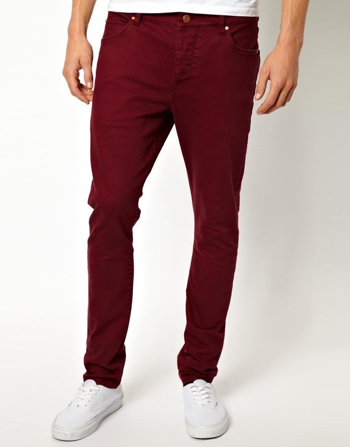 Мужские темно-красные джинсы