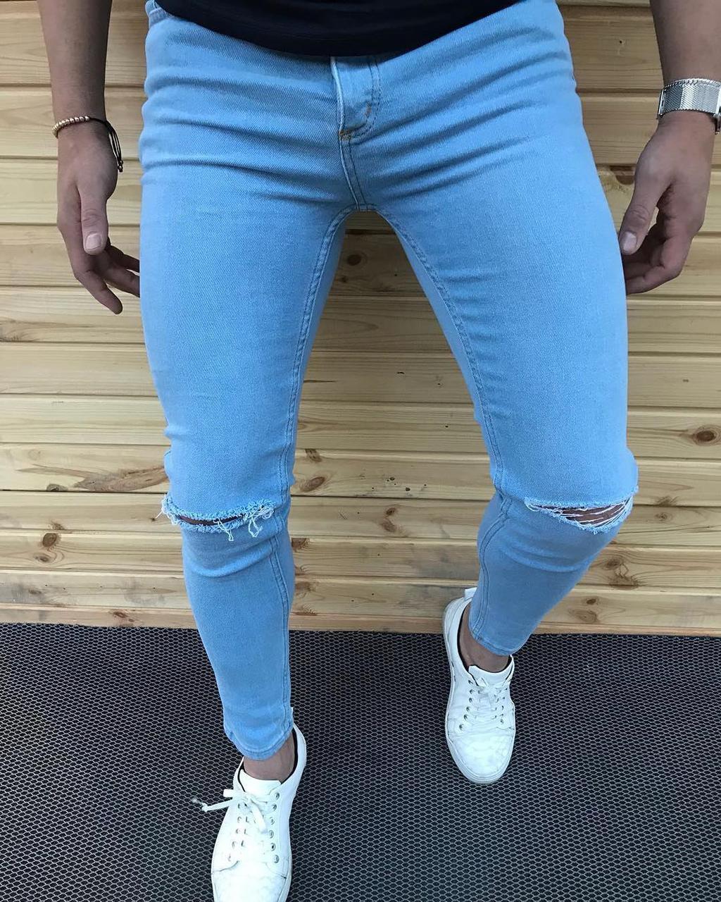 Мужские узкие голубые джинсы скинни слим