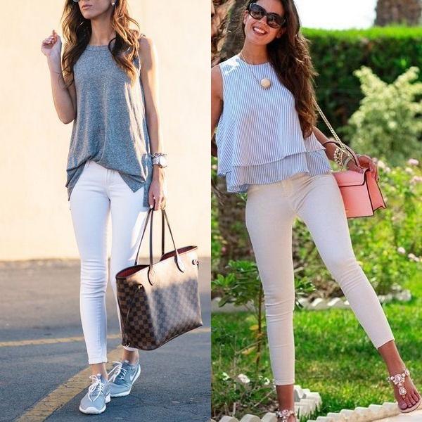 На фото белые женские джинсы с завышенной талией