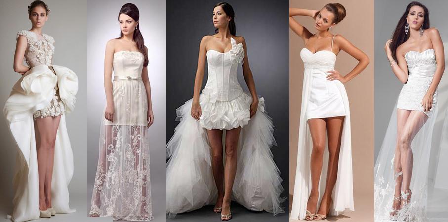 Невесты в коротких свадебных платьях