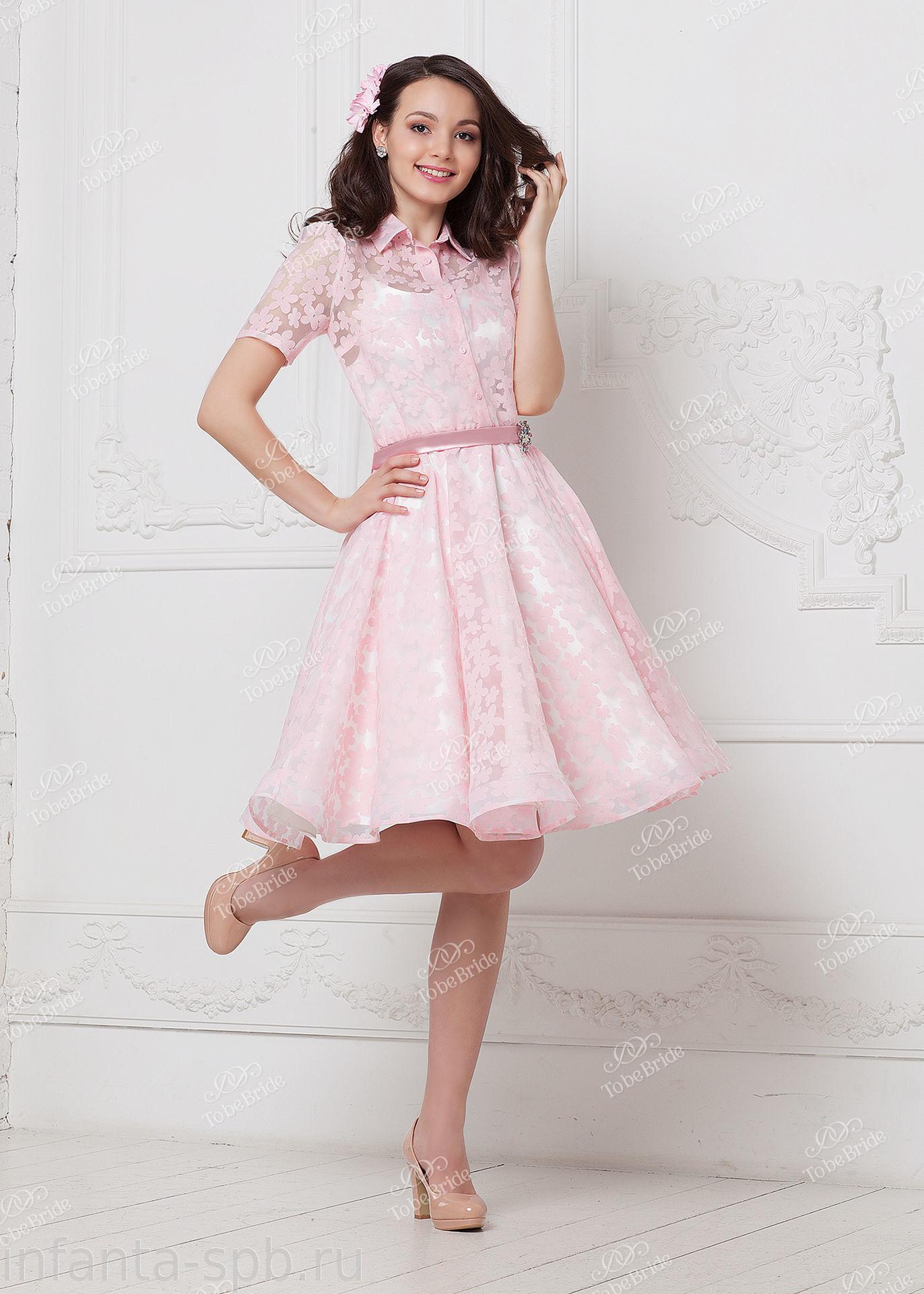Нежно розовое платье на выпускной