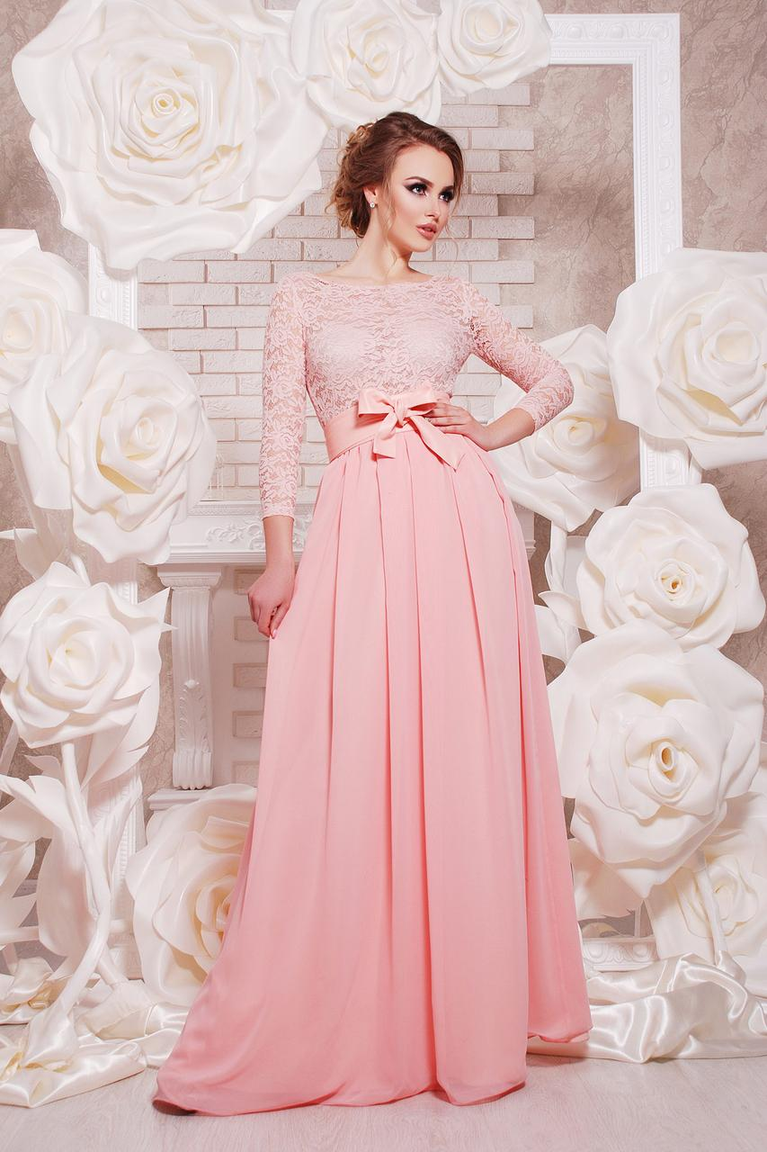 Нежно- розовое платье на выпускной