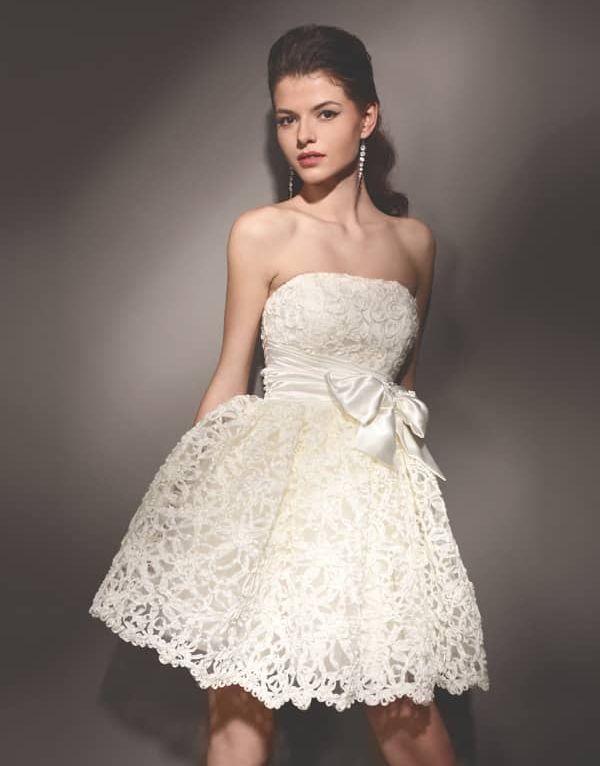 Нежное кружевное не пышное короткое свадебное платье
