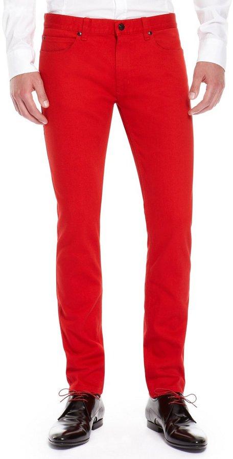 Обятягивающий крой красных штанов