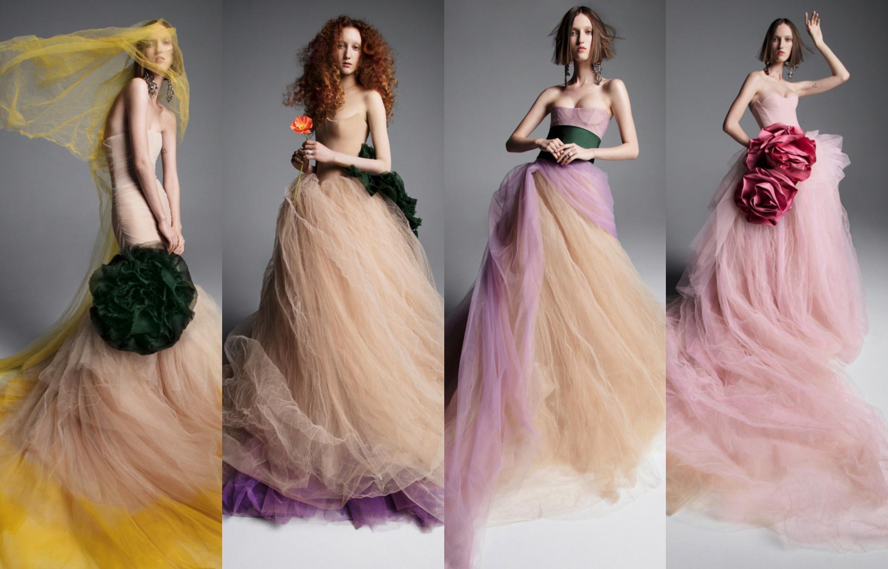 Оригинальные цветные свадебные платья