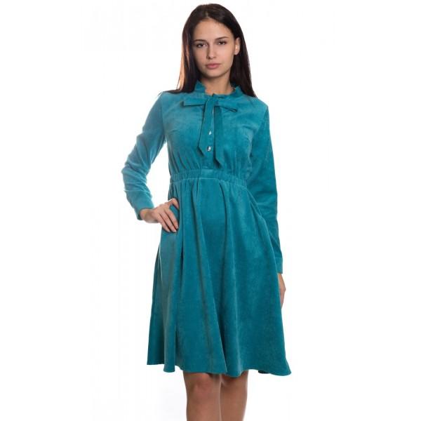 Осеннее платье цвета бирюза