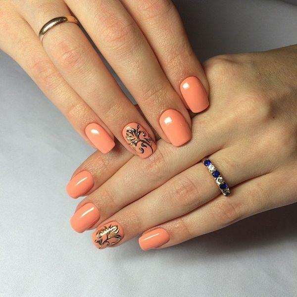 Персиковый цвет ногтей