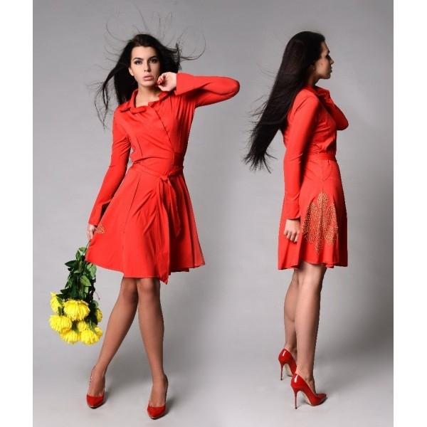 Платье Халат красного цвета
