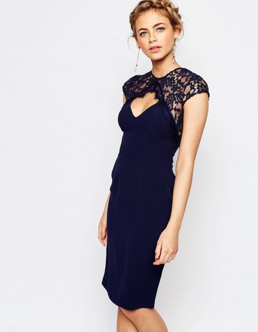 Платье-футляр миди с кружевной отделкой