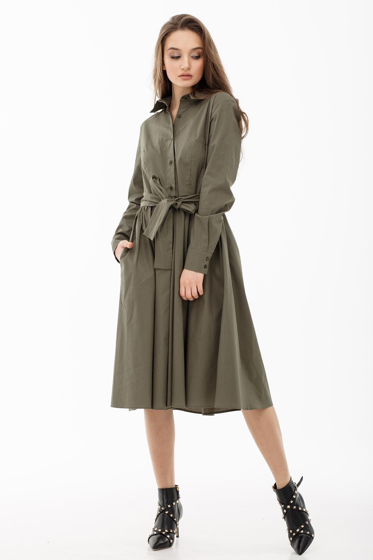 Платье-халат ниже колена
