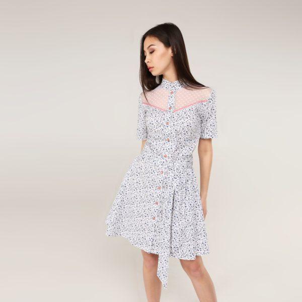 Платье-халат с кокеткой из сетки и коротким рукавом