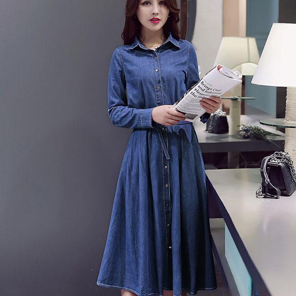 Платье из деним модно в 2018 году