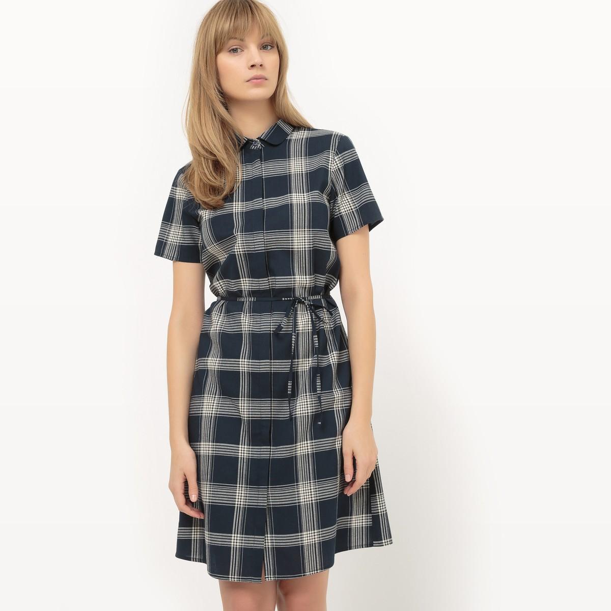 Платье с короткими рукавами и круглым вырезом