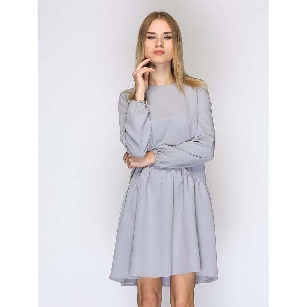 Платье серое со сборкой