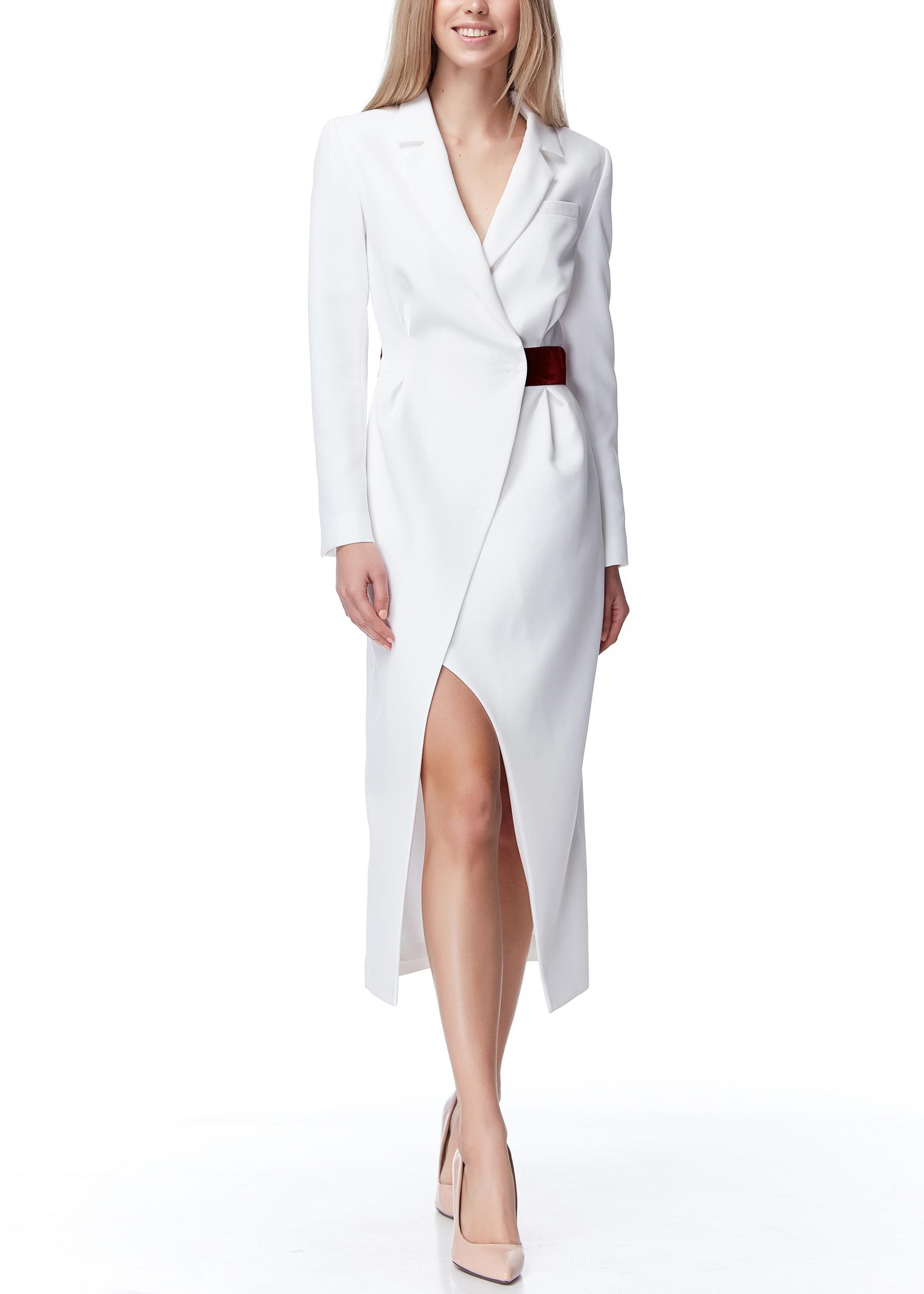 Платье - жакет миди с бархатной лентой