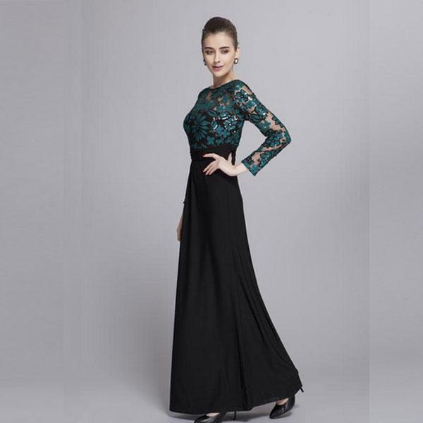 Приталенное черное вечернее платье
