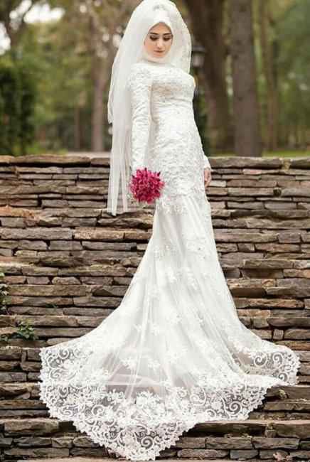 Приталенное мусульманское свадебное платье