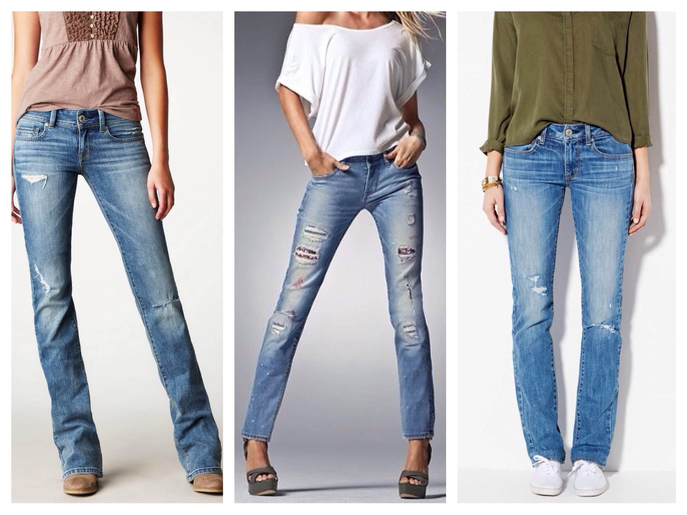 Прямые модели джинсов с порезами