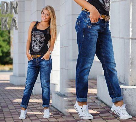 Прямые широкие джинсы