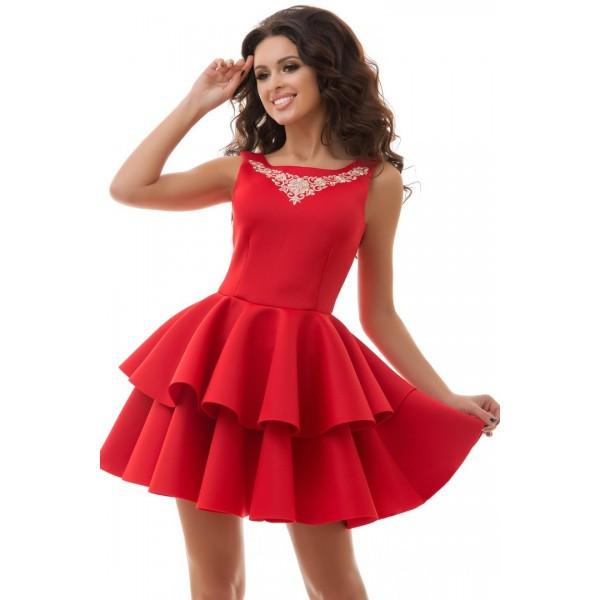 Пышное коктейльное платье из неопрена с воланами