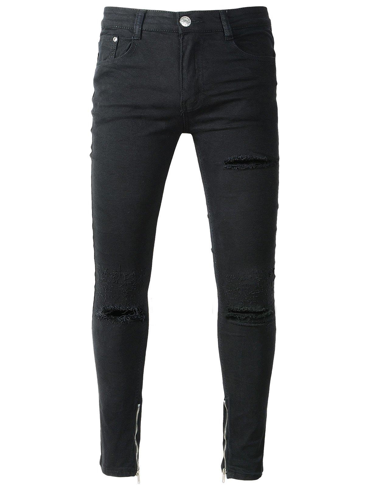 Рваные черные штаны