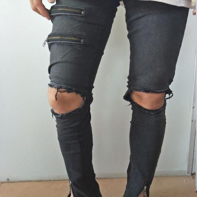 Рваные джинсы мужские черного цвета
