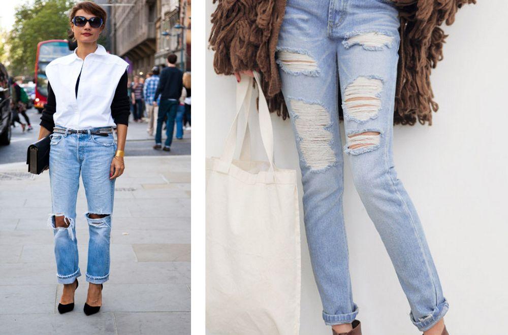 Рваные штаны на даме за 50 лет