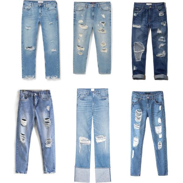 Рваные современные джинсы