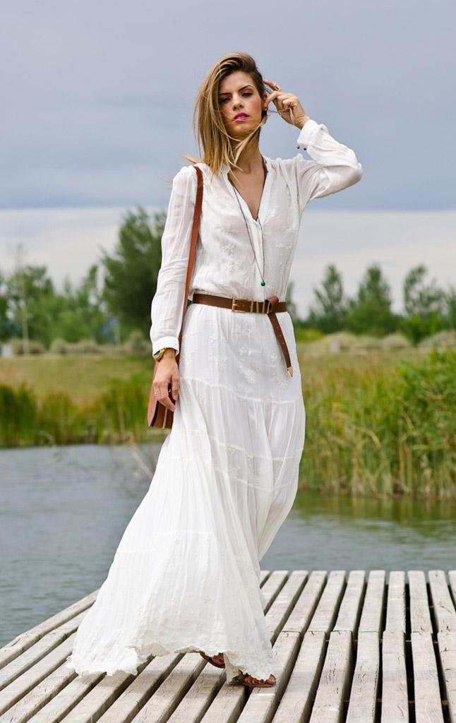 С чем носить длинное платье с длинным рукавом